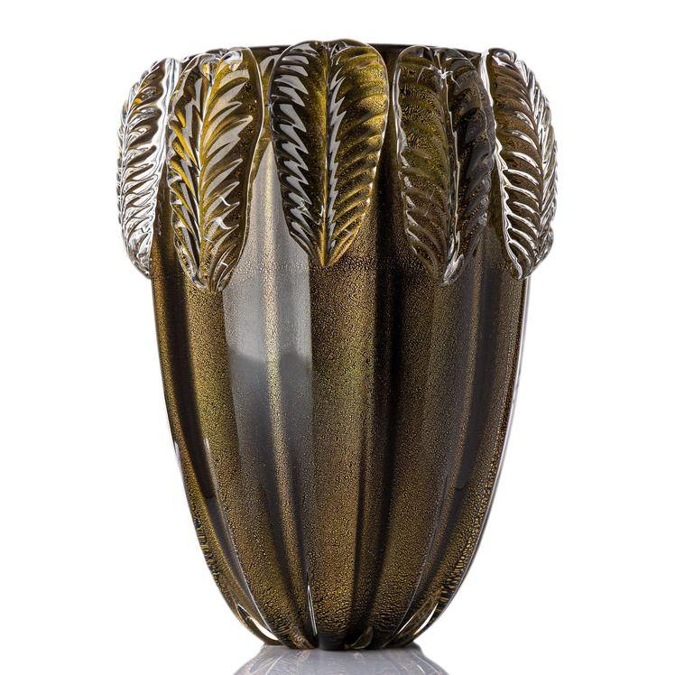 Vaso Foglio - Preto com Ouro - G