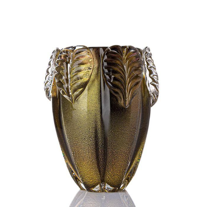 Vaso Foglio - Preto com Ouro - PP