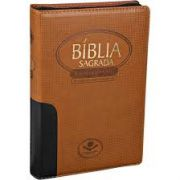 BÍBLIA SAGRADA LETRA GIGANTE - CAPA Sint Preto/Marrom c/ziper Color