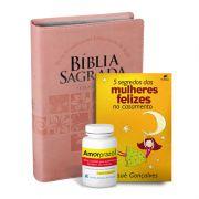 Kit Bíblia da Mulher Letra Gigante (Rosa Claro) + Livro + Amorprazol