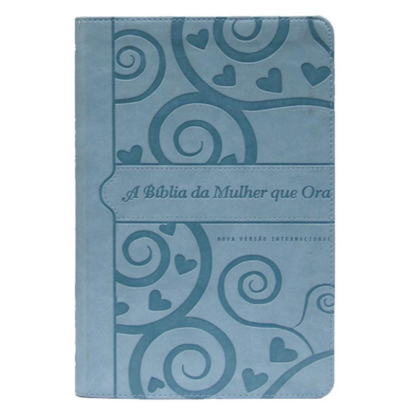 A Bíblia da mulher que ora - NVI (coração) PU Azul / Prateada
