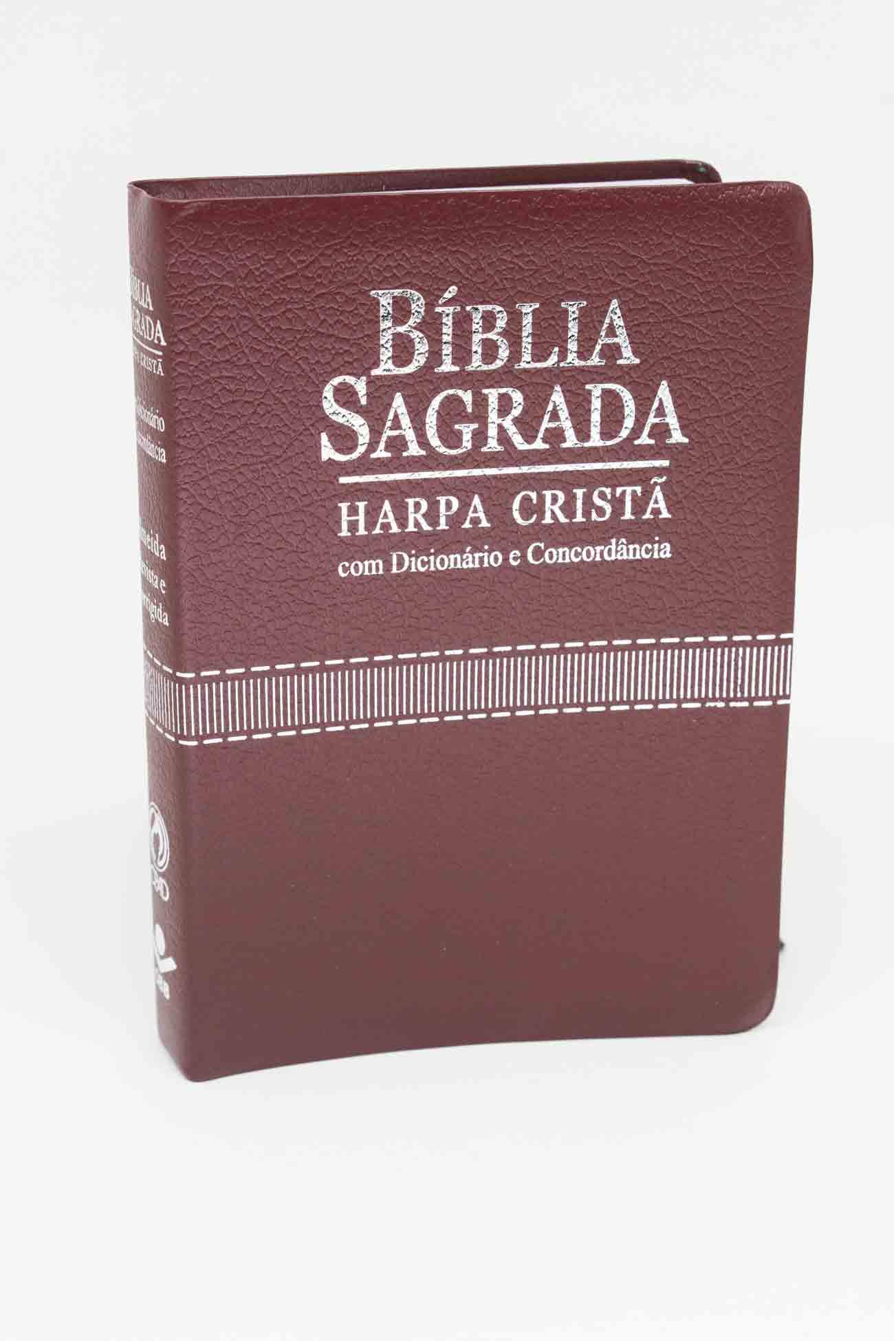Bíblia de Couro Vinho com Harpa Cristã