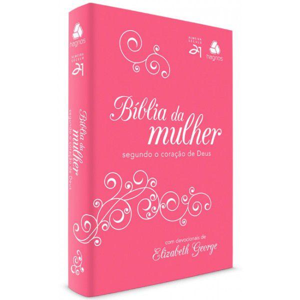 BIBLIA DA MULHER 2 CORACAO DE DEUS - PINK/BRANCA - HAGNOS