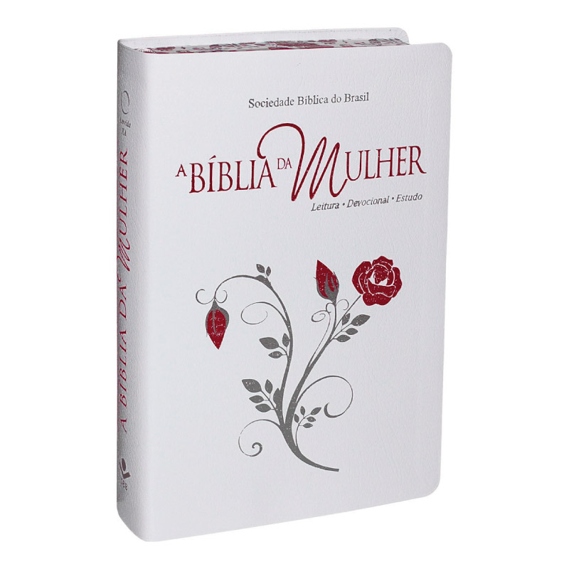 BIBLIA DA MULHER CAPA BRANCA FLOR ROSA 17 x 20cm