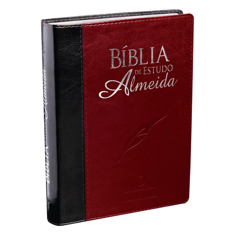 BIBLIA- ESTUDO ALMEIDA CP SINT ALPHA PRETA/VINHO