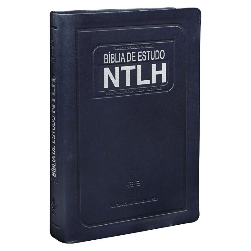 BÍBLIA DE ESTUDO NTLH CP COURO SINTET AZUL