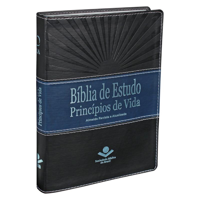 BÍBLIA DE ESTUDO PRINCÍPIOS DE VIDA CP SINT PRETO/AZUL