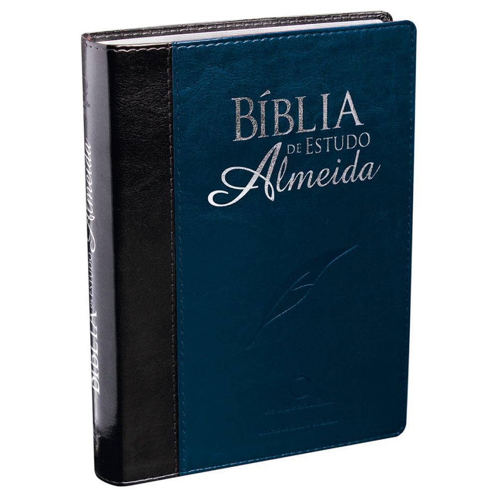 BIBLIA EST ALMEIDA CP SINT PRETO/AZUL NOBRE