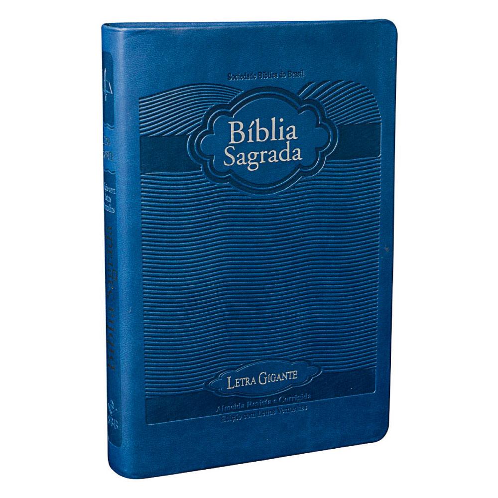 BÍBLIA SAGRADA LETRA GIGANTE CP Couro Sint Azul Nobre