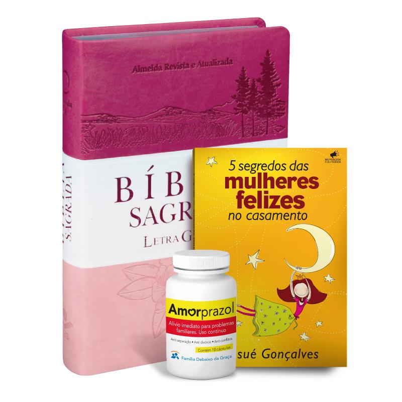 Kit Bíblia da Mulher Letra Gigante (Pink) + Livro + Amorprazol