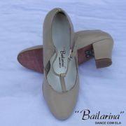 Sapato para Dança em Couro 219 PRETO e BEGE