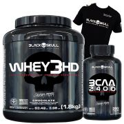 Whey 3HD 1,8kg + BCAA 2400 200 tabletes + Camiseta Black Skull (Brinde)