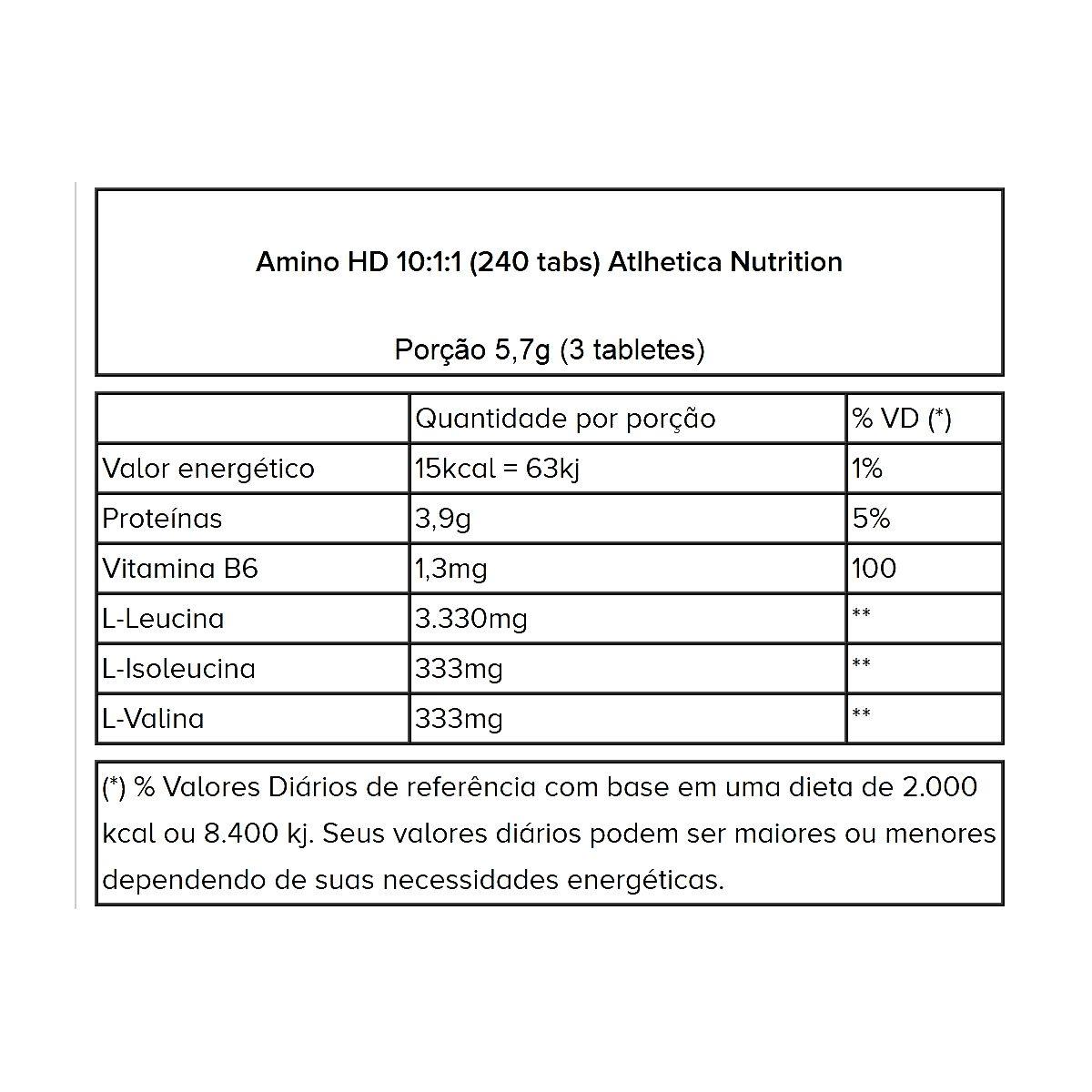 Amino HD 10:1:1 - 240 Tabletes - Atlhetica Nutrition