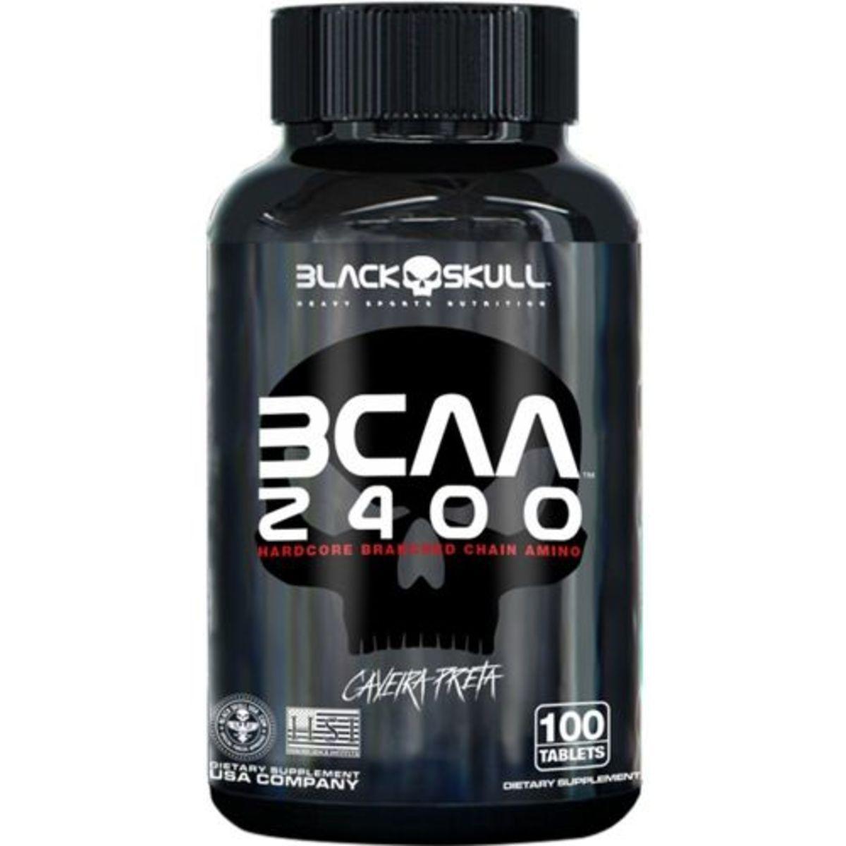 Bcaa 2400 100 Tabletes - Black Skull - Caveira Preta