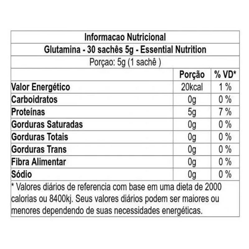Glutamina 30 sachê/5g - Essential Nutrition