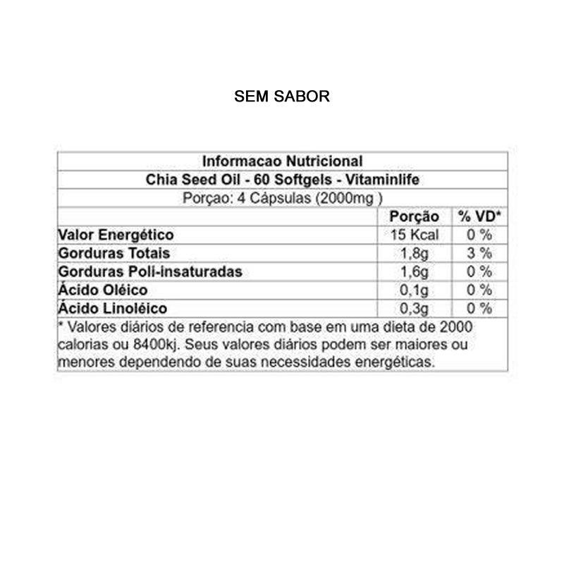 Oleo de Chia 60 cápsulas - Vitamin Life