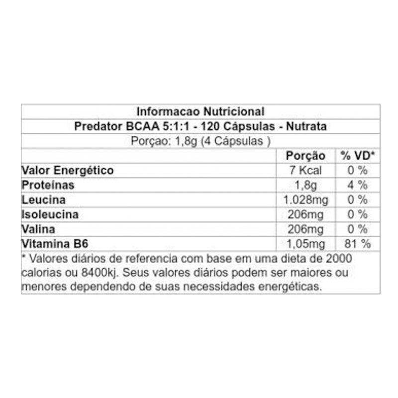 Predator BCAA 2:1:1 - 60 Cápsulas - Nutrata