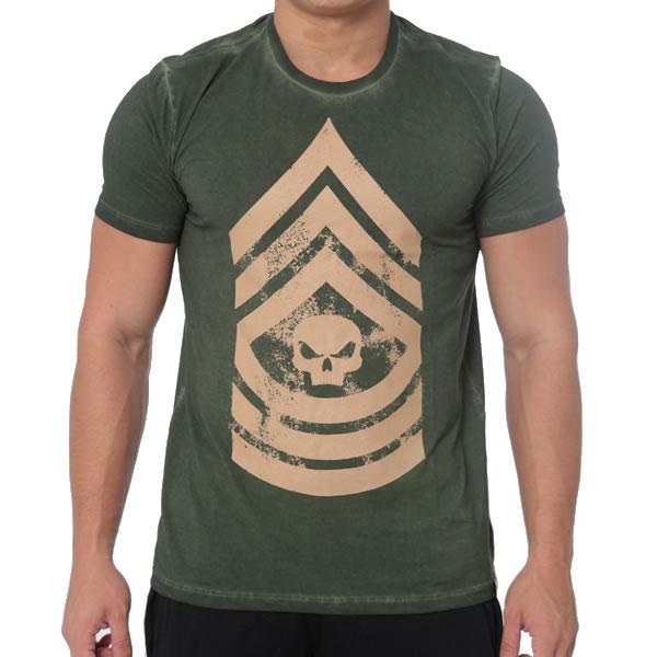 T-Shirt Military - Verde - Black Skull