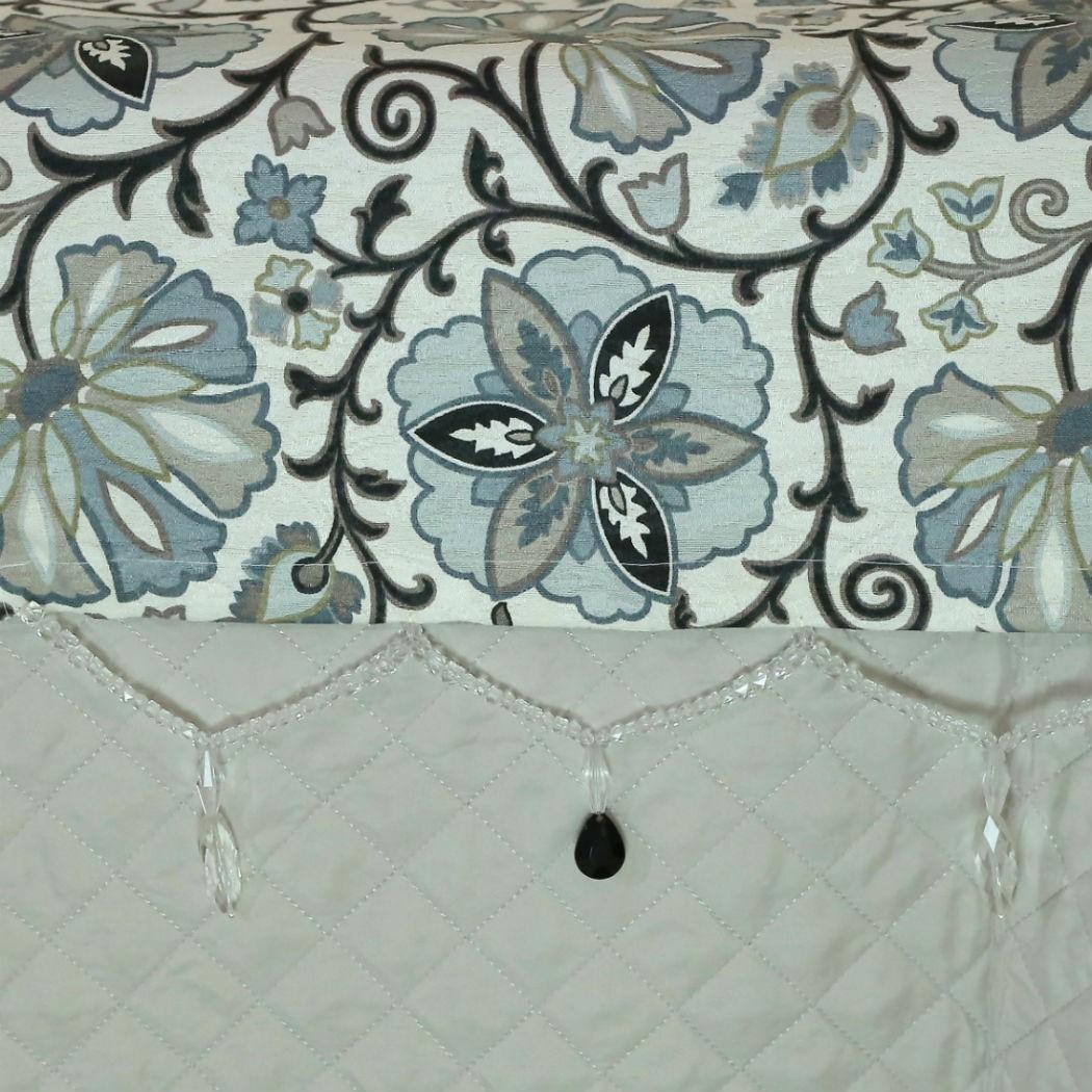 Conjunto de Passadeira com Almofadas Florido Azul Cama Queen
