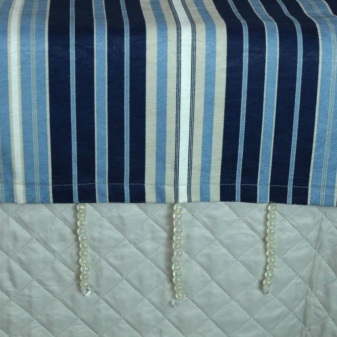 Conjunto de Passadeira com Almofadas Listrado Azul Cama Casal