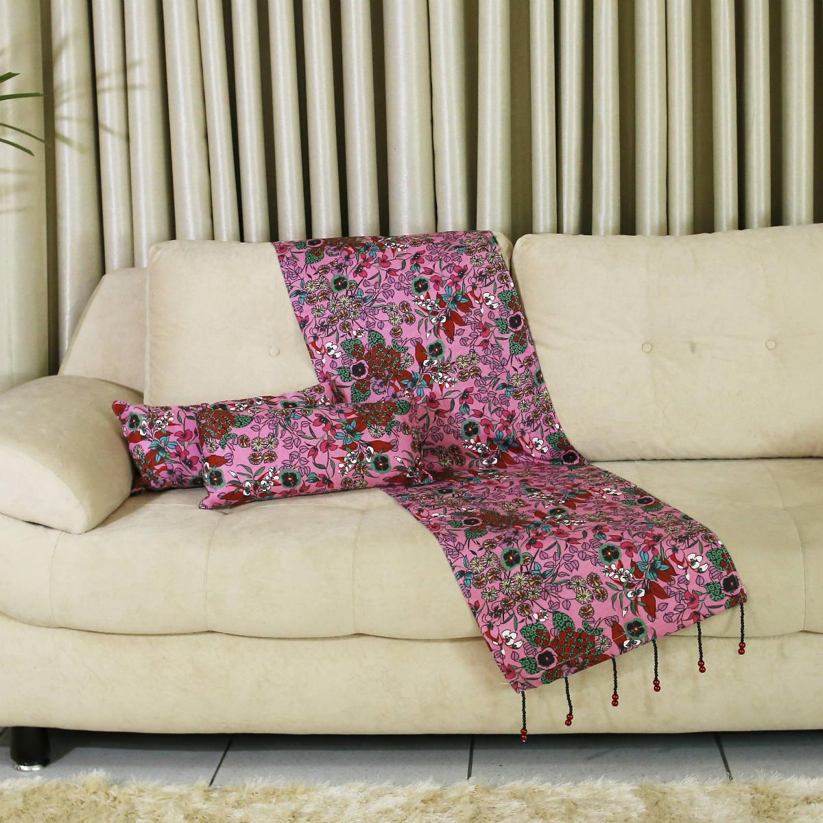 Conjunto de Passadeira com Almofadas Oriental Pink para Sofá Tamanho G