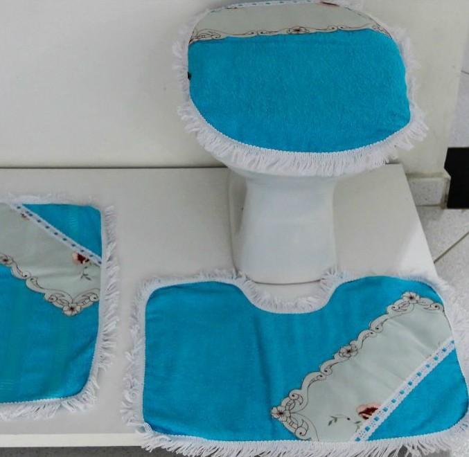 Tapetes para Banheiro 3 Peças Atoalhado Azul