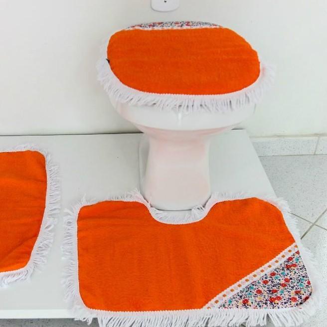 Tapetes para Banheiro 3 Peças Atoalhado Laranja