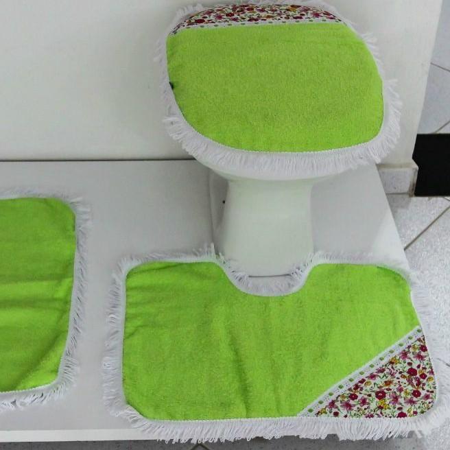 Tapetes para Banheiro 3 Peças Atoalhado Verde