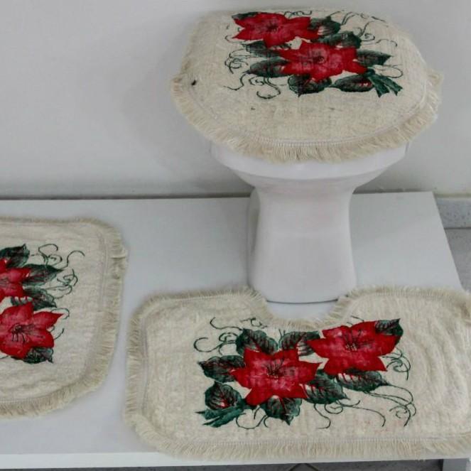 Tapetes para Banheiro 3 Peças Fofinho Pintado Vermelho
