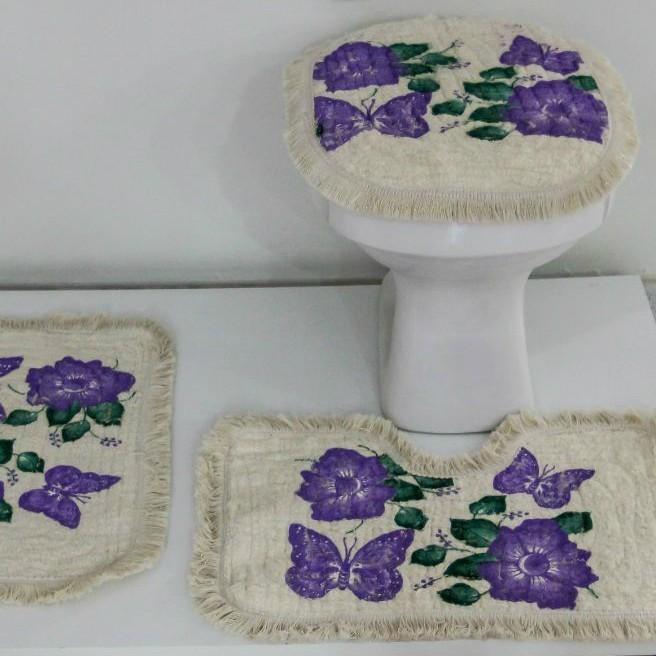 Tapetes para Banheiro 3 peças Fofinho Pintado Lilás