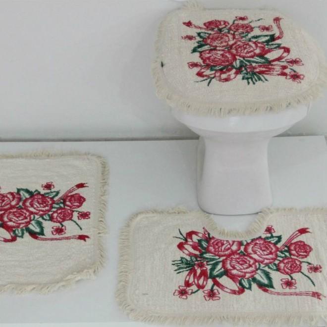 Tapetes para Banheiro 3 peças Fofinho Pintado Pink