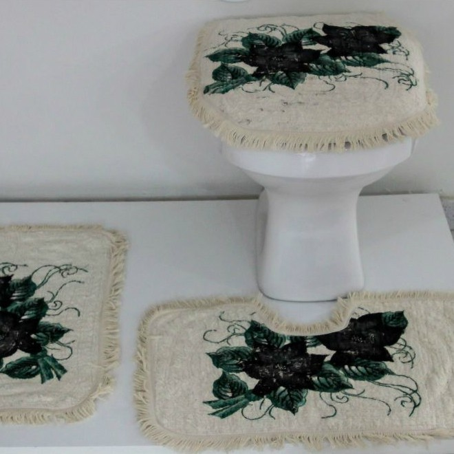 Tapetes para Banheiro 3 peças Fofinho Pintado Preto