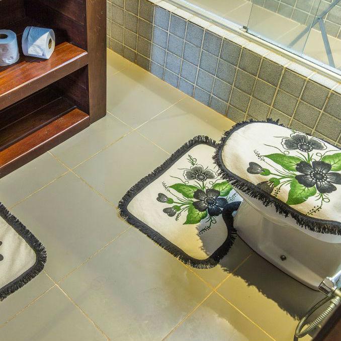Tapetes para Banheiro 3 Peças Pintado Preto.