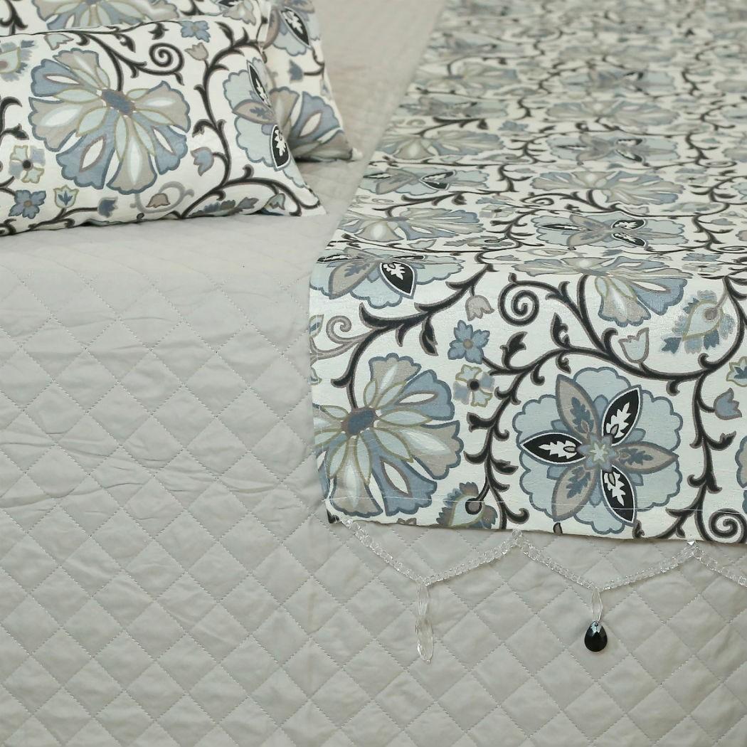 Conjunto de Passadeira com Almofadas Florido Azul Cama Casal