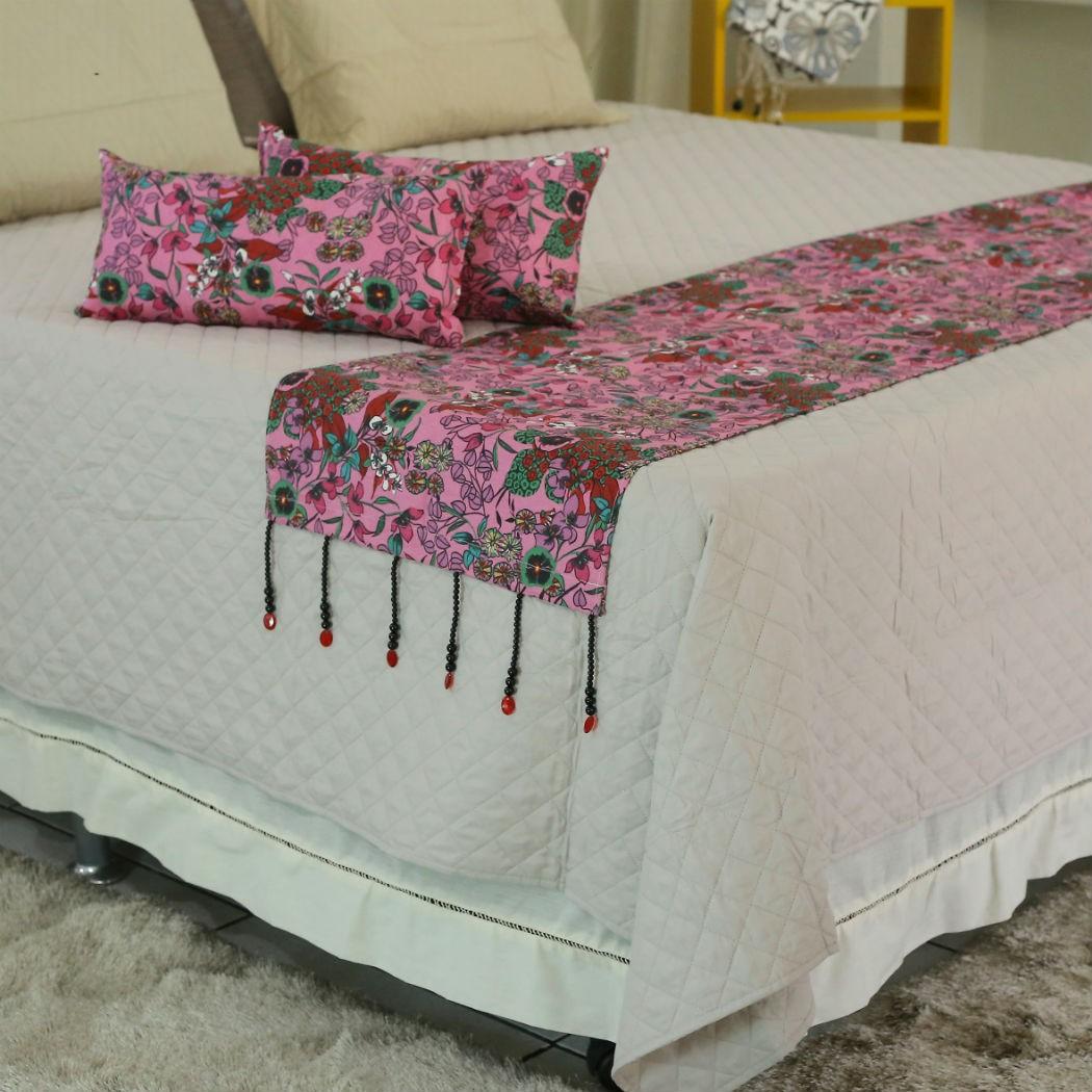 Conjunto de Passadeira com Almofadas Florido Pink Cama Casal