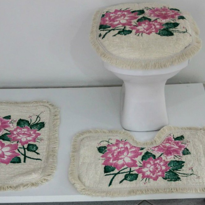 Tapetes para Banheiro 3 Peças Fofinho Pintado Rosa