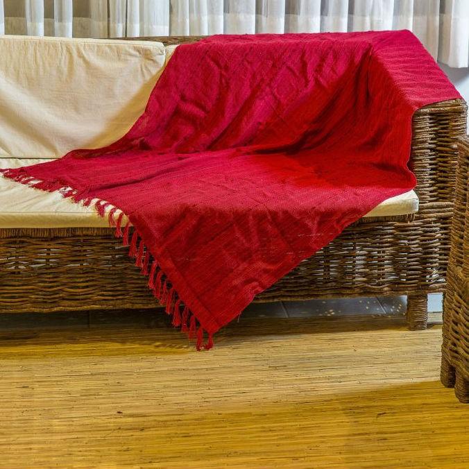 Manta para sofá Luxo Vermelha