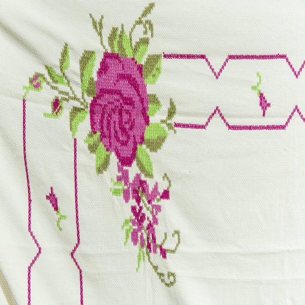 Rede de Dormir Casal Ponto Cruz com Rosas Pink