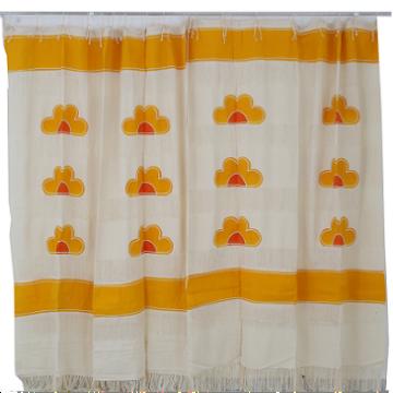 Cortina de Algodão Estampa Flor Amarela G