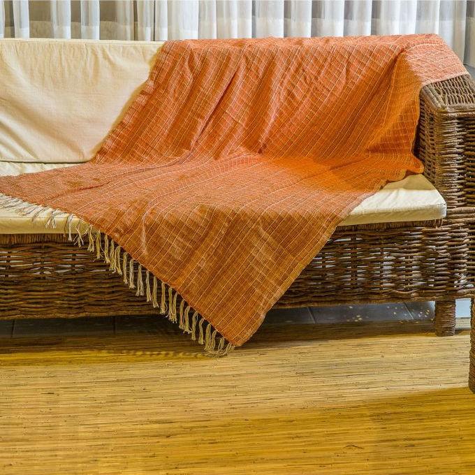 Manta para Sofá Luxo Laranja