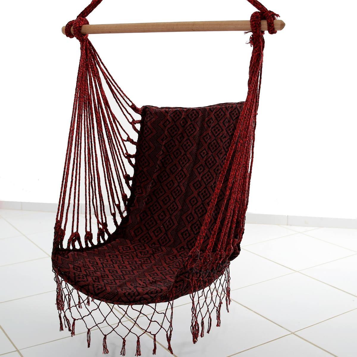 Rede Cadeira Balanço Losango Vermelho Escuro