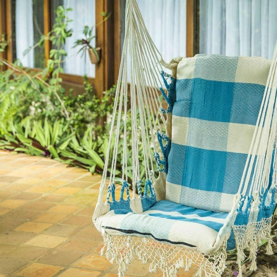 Rede Cadeira Balanço Xadrez Azul