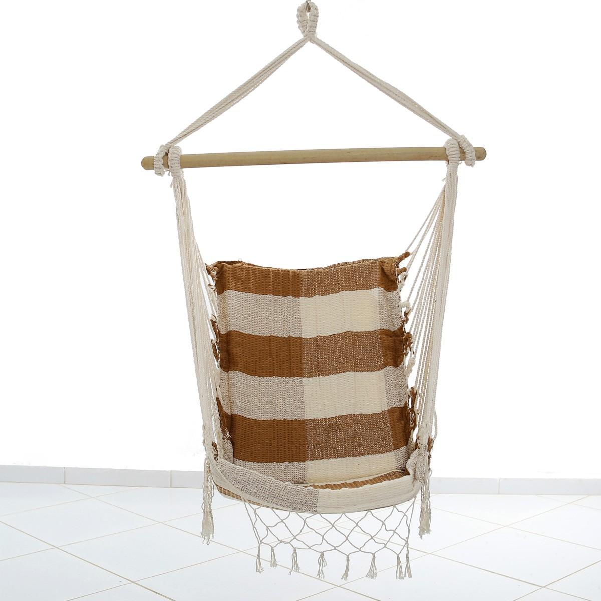 Rede Cadeira Balanço Xadrez Caramelo com bege