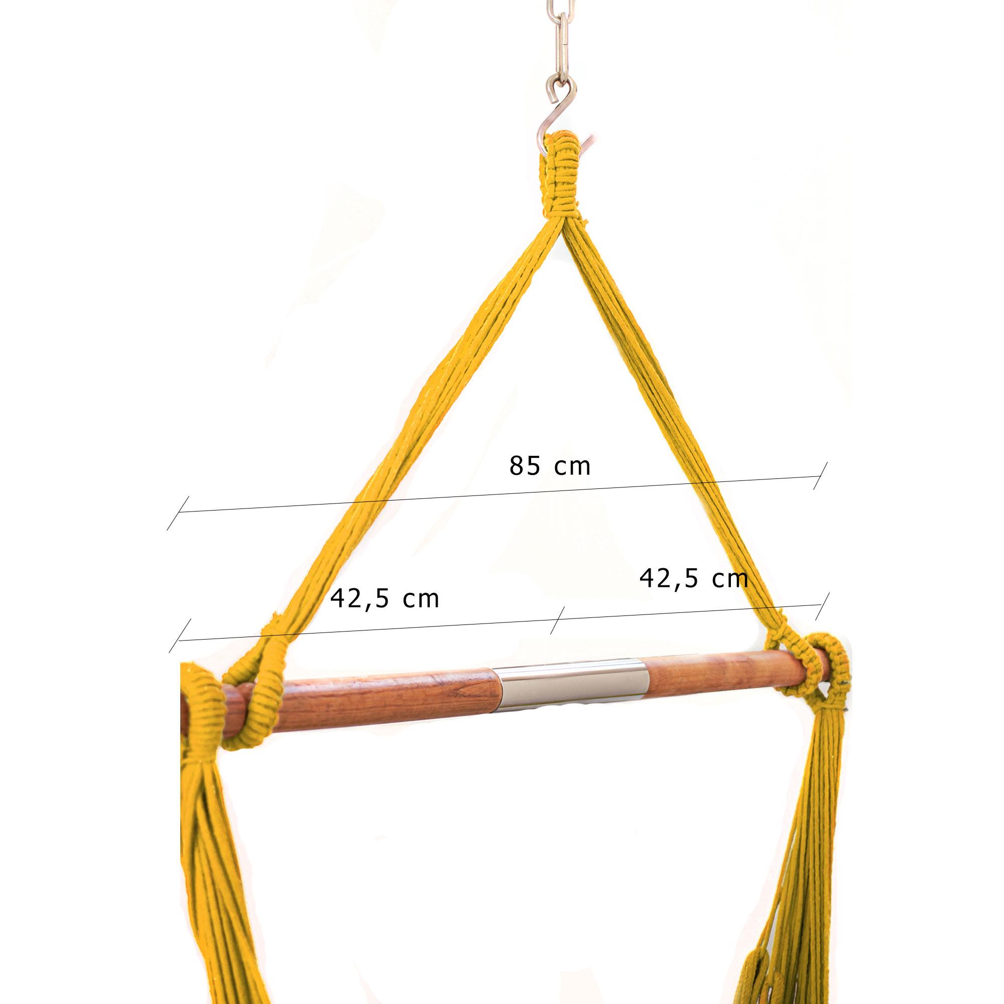 Rede Cadeira Suspensa Teto Corda Algodão Amarela