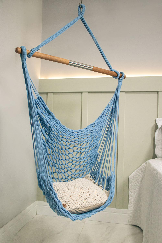 Rede Cadeira Suspensa Teto Corda Algodão Azul