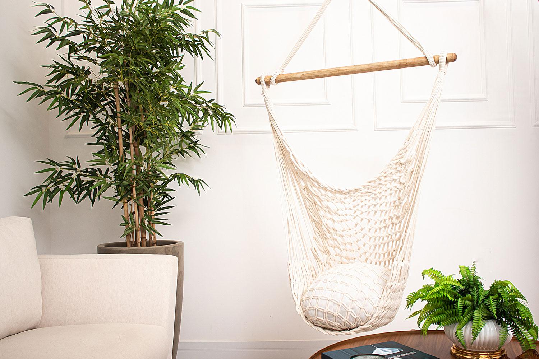 Rede Cadeira Suspensa Teto Corda Algodão Natural