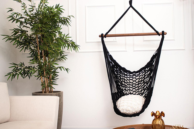 Rede Cadeira Suspensa Teto Corda Algodão Preta