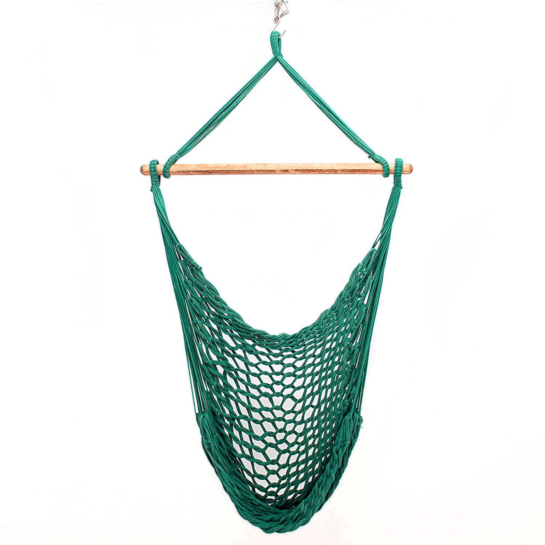 Rede Cadeira Suspensa Teto Corda Algodão Verde Musgo