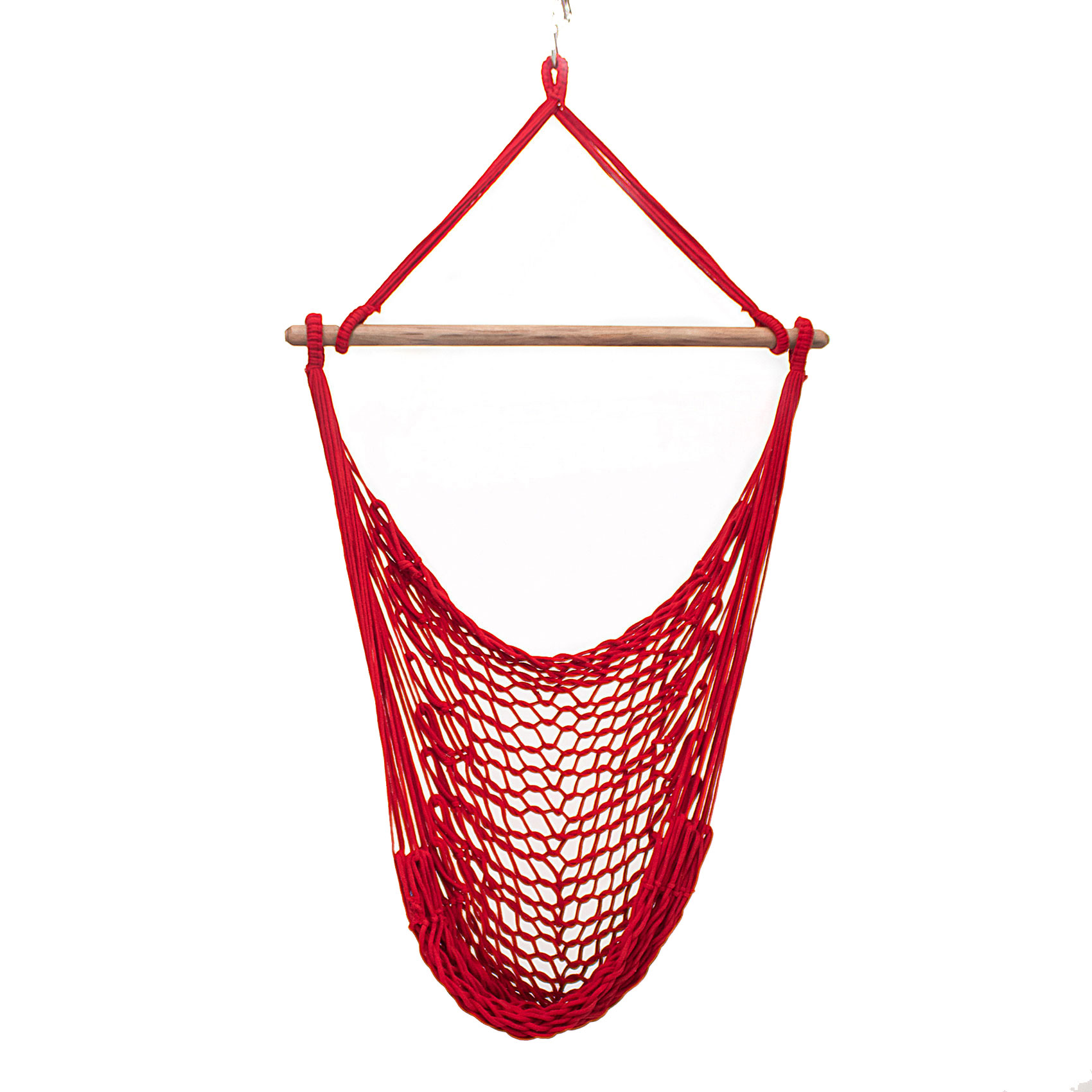 Rede Cadeira Suspensa Teto Corda Algodão Vermelha