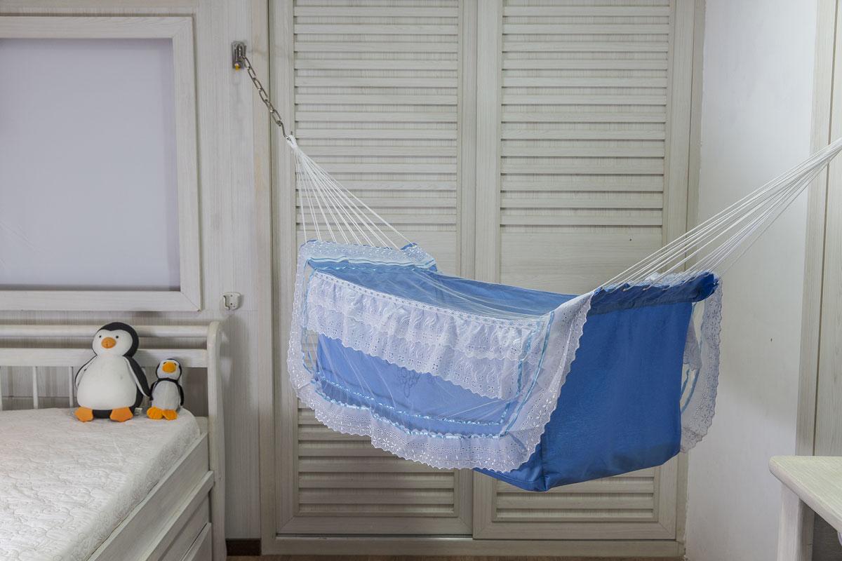 Rede de Dormir Berço infantil para Bebê Descanso Azul